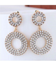 Rhinestone Embellished Dual Hoop Design Golden High Fashion Earrings