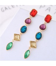 Multi-color Gems Waterdrops Design High Fashion Costume Earrings - Green