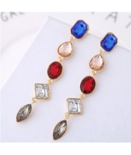 Multi-color Gems Waterdrops Design High Fashion Costume Earrings - Gray
