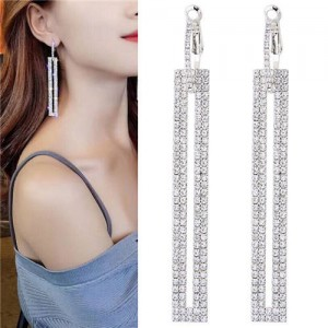 Shining Rhinestone Dangling Bar Design Woment Statement Earrings - Silver