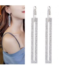 Shining Rhinestone Dangling Bar Design Woment Statement Earrings - Silver