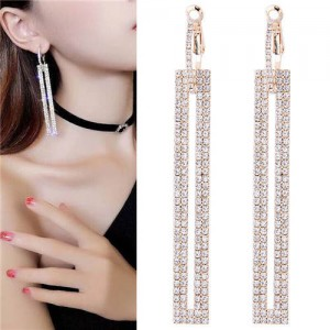 Shining Rhinestone Dangling Bar Design Woment Statement Earrings - Golden