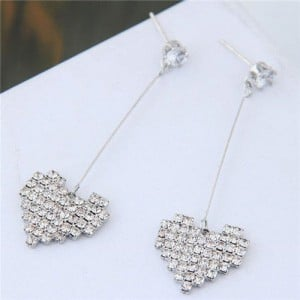 Rhinestone Embellished Dangling Sweet Shining Heart Design High Fashion Earrings