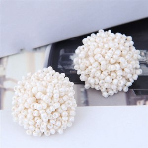 Mini-beads Floral Ball Design High Fashion Women Earrings - White