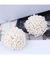 Mini-beads Floral Ball Design High Fashion Women Earrings - White