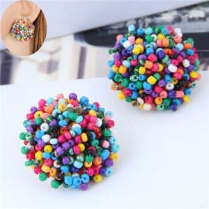 Mini-beads Floral Ball Design High Fashion Women Earrings - Multicolor