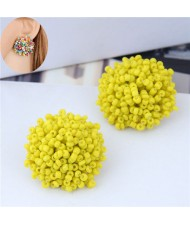Mini-beads Floral Ball Design High Fashion Women Earrings - Yellow
