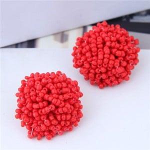 Mini-beads Floral Ball Design High Fashion Women Earrings - Red