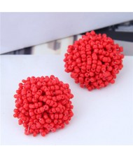 Mini-beads Floral Ball Design High Fashion Women Earrings - Red