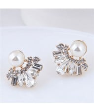 Cubic Zirconia and Pearl Inlaid Flower Design Alloy Korean Fashion Earrings