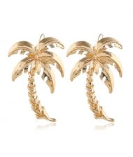 Golden Coconut Tree High Fashion Alloy Women Earrings
