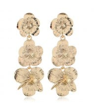 Dangling Golden Plum Cluster High Fashion Women Statement Earrings