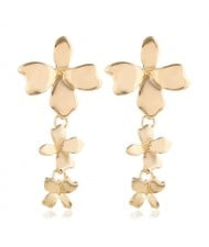 Golden Morning-glory Flower Design High Fashion Costume Earrings