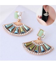 Rhinestone Embellished Fan-shape Cute Design Women Earrings - Green