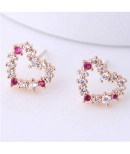 Cubic Zirconia Sweet Heart Design Korean Fashion Women Earrings