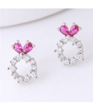 Sweet Rabbit Design Hoop Fashion Women Earrings - Silver