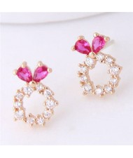Sweet Rabbit Design Hoop Fashion Women Earrings - Golden