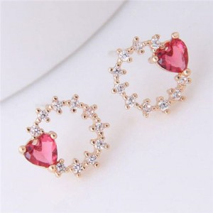 Heart Decorated Floral Hoop Design Golden Fashion Earrings