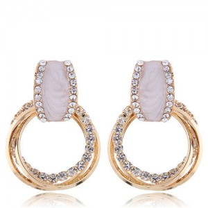 Rhinestone Embellished Multiple Dangling Hoops Design Women Costume Earrings