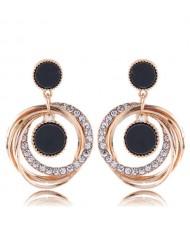 Rhinstone and Resin Gem Inlaid Dangling Hoops High Fashion Earrings