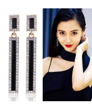 Shining Rhinestone Embellished Oil-spot Glazed Bar Dangling Fashion Earrings