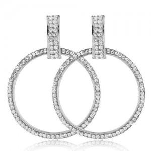 Rhinestone Embellished Bold Hoop Design High Fashion Women Earrings - Silver
