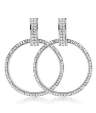 Rhinestone Embellished Bold Hoop Design High Fashion Women Earrings - Silver
