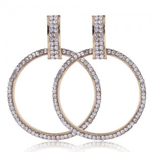 Rhinestone Embellished Bold Hoop Design High Fashion Women Earrings - Golden