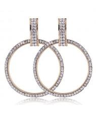 Rhinestone Embellished Bold Hoop Design High Fashion Women Earrings - Golden