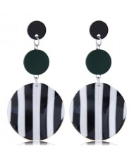Black and White Strips Rounds High Fashion Women Costume Earrings