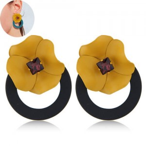 Sweet Flower Attached Dangling Hoop Fashion Earrings - Black
