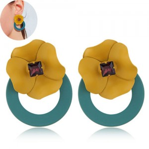 Sweet Flower Attached Dangling Hoop Fashion Earrings - Green
