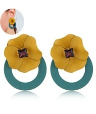 Sweet Flower Attached Dangling Hoop Fashion Earrings - Green