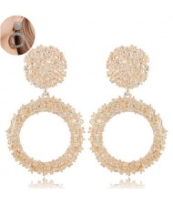 Coarse Texture Hoop Design High Fashion Women Earrings - Golden