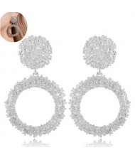 Coarse Texture Hoop Design High Fashion Women Earrings - Silver