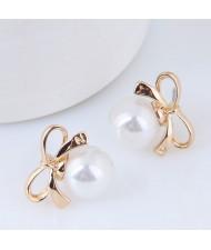 Pearl Inlaid Golden Bowknot Design Korean Fashion Earrings