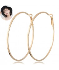 Big Hoop High Fashion Women Costume Earrings - Golden