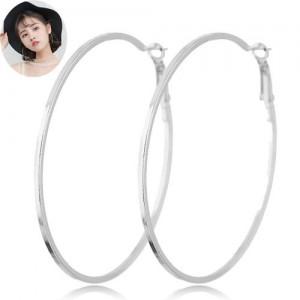Big Hoop High Fashion Women Costume Earrings - Silver