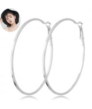 Big Hoop High Fashion Women Costume Earrings - Silver