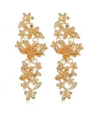 Vintage Flowers Cluster Design Women Fashion Statement Earrings - Golden