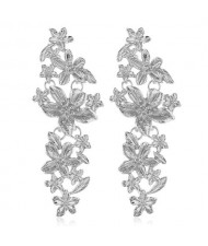 Vintage Flowers Cluster Design Women Fashion Statement Earrings - Silver