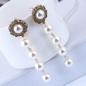 Sweet Pearl Cluster Vintage Fashion Women Statement Earrings