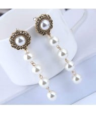 Sweet Pearl Cluster Vintage Fashion Women Statement Earrings
