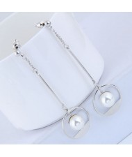 Pearl Inlaid Waterdrop Design Sweet Korean Fashion Earrings - Silver