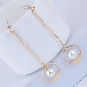 Pearl Inlaid Waterdrop Design Sweet Korean Fashion Earrings - Golden
