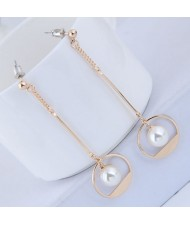 Pearl Inlaid Waterdrop Design Sweet Korean Fashion Earrings - Golden