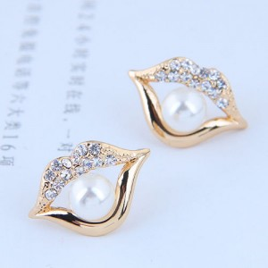 Pearl Inlaid Golden Lips Design High Fashion Earrings
