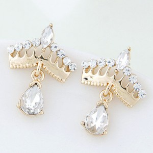 Czech Rhinestone Sweet Golden Crown High Fashion Women Costume Earrings