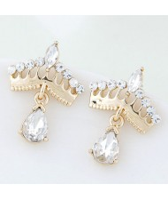 Czech Rhinestone Sweet Golden Crown High Fashion Women Costume Earrings
