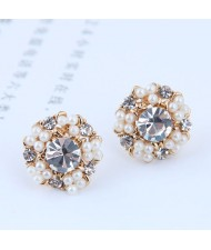 Pearl and Rhinestone Round Floral Design Korean Fashion Earrings